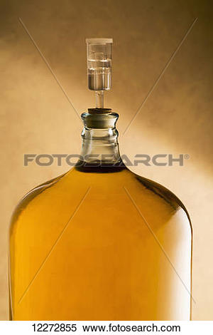 Stock Image of Large glass vessel full of white wine and corked.