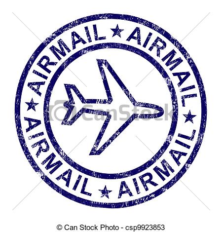 Drawings of Airmail Stamp Shows International Mail Delivery.