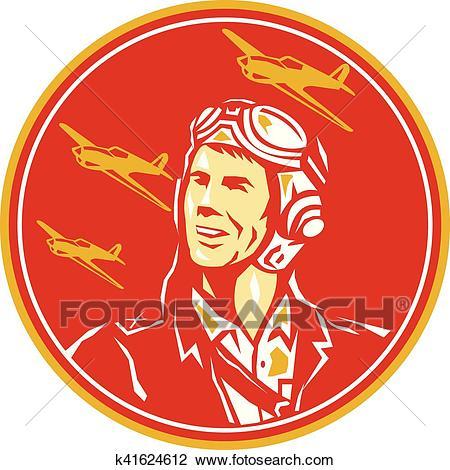 World War 2 Pilot Airman Fighter Plane Circle Retro Clipart.