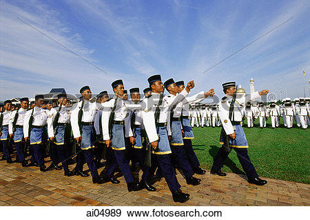 Stock Photograph of Brunei, Air force airmen march during Sultan.