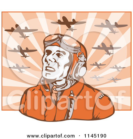 Clipart of a Retro WW2 Airman Pilot Under Planes.