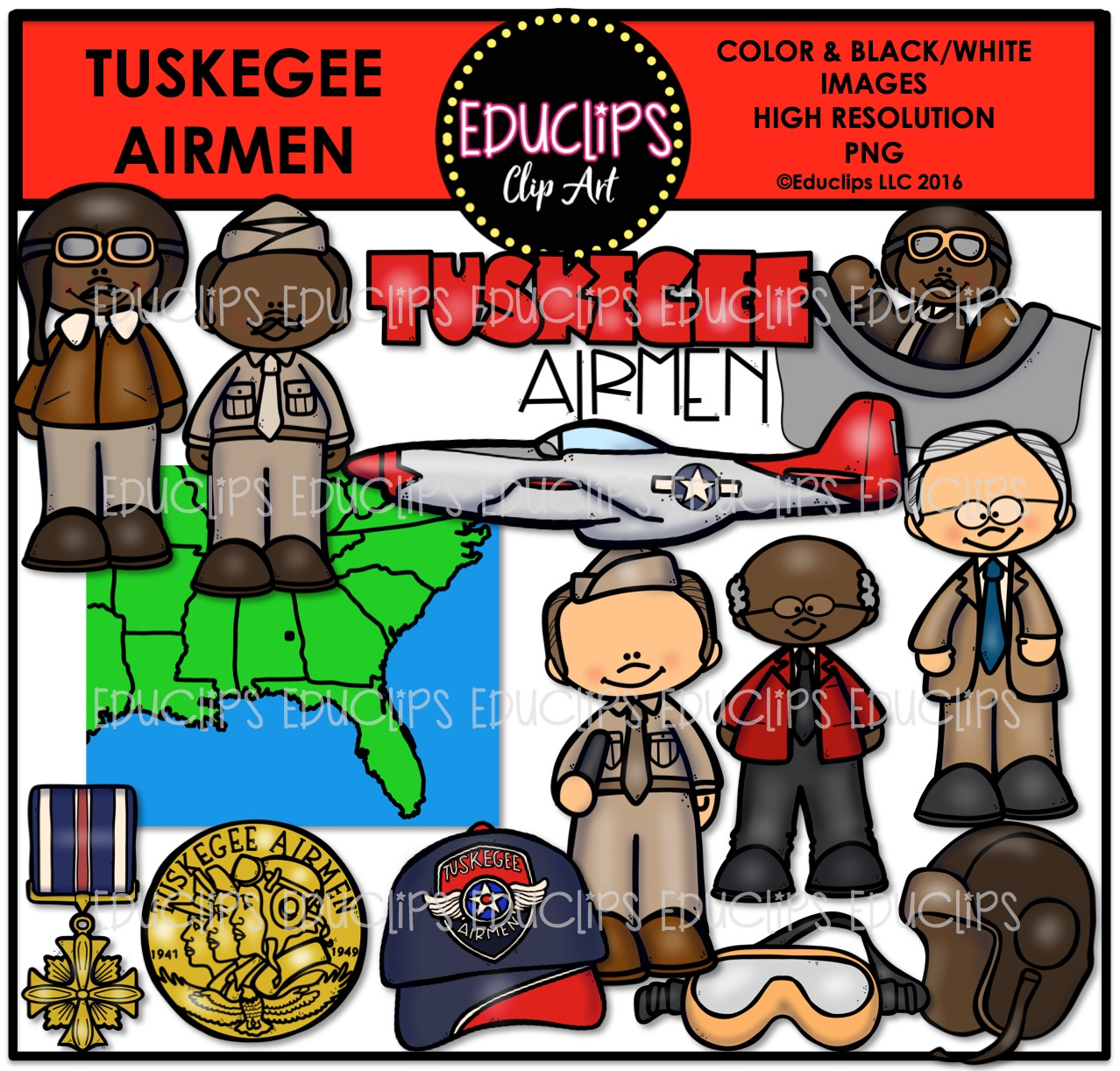 Tuskegee Airmen Clip Art Bundle (Color and B&W).