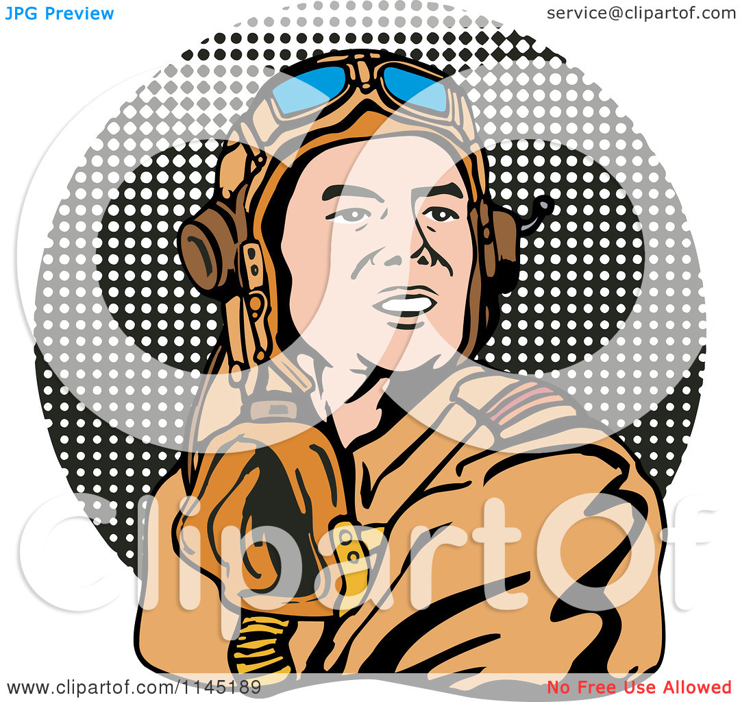 Clipart of a Retro WW2 Airman Pilot over Halftone.