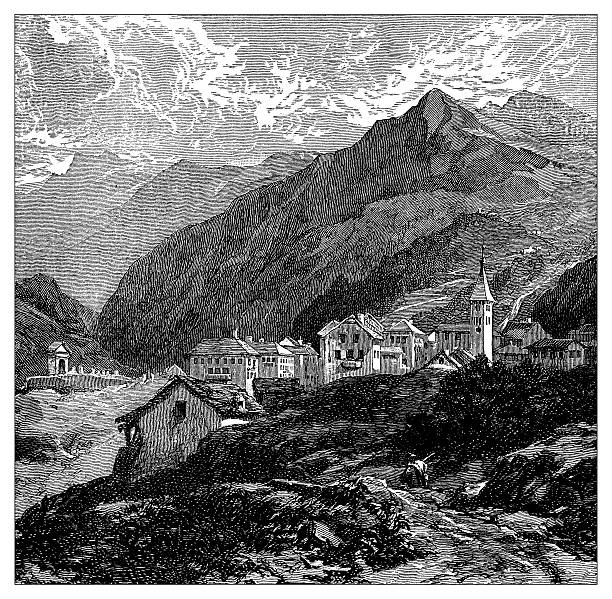 Antique Illustration Of Switzerland Airolo Clip Art, Vector Images.