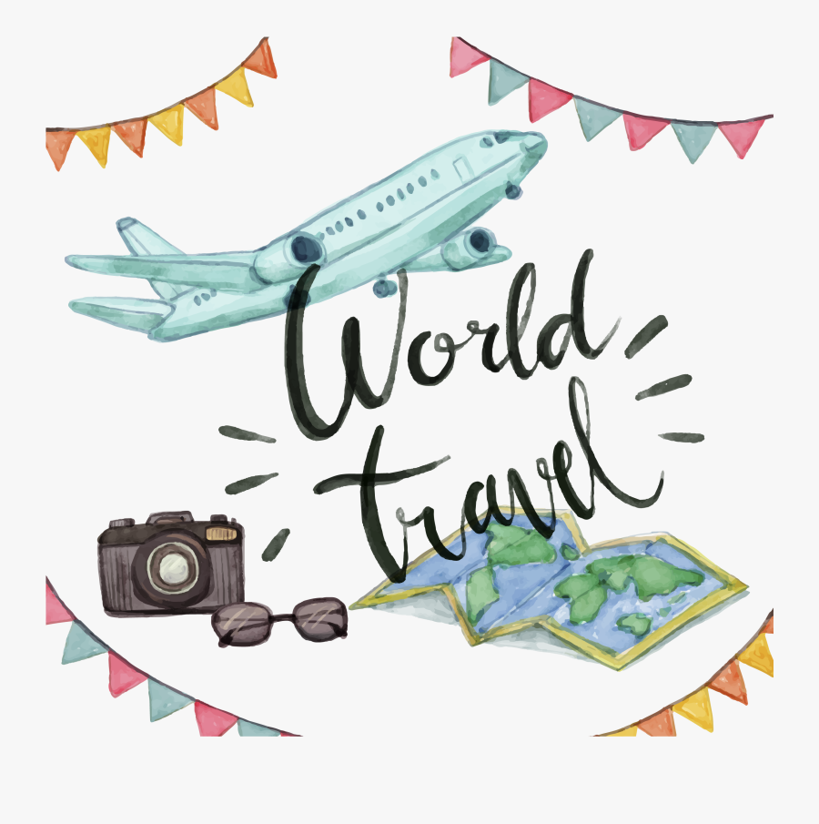 Airplane Travel Watercolor Painting Clip Art.