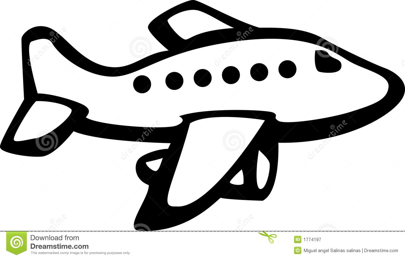 Black And White Airplane With Banner Clipart.