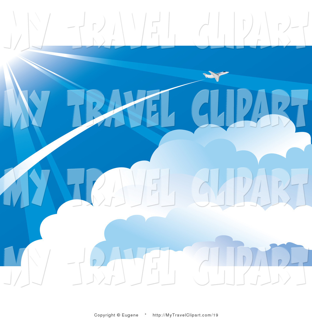 Clipart of a Plane Flying Through the Vast Blue Sky, Leaving.