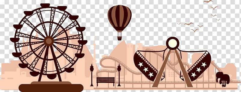 Amusement park Silhouette Carousel, Amusement park.