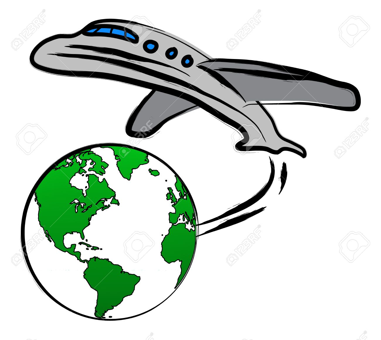 Airplane And World Clipart.