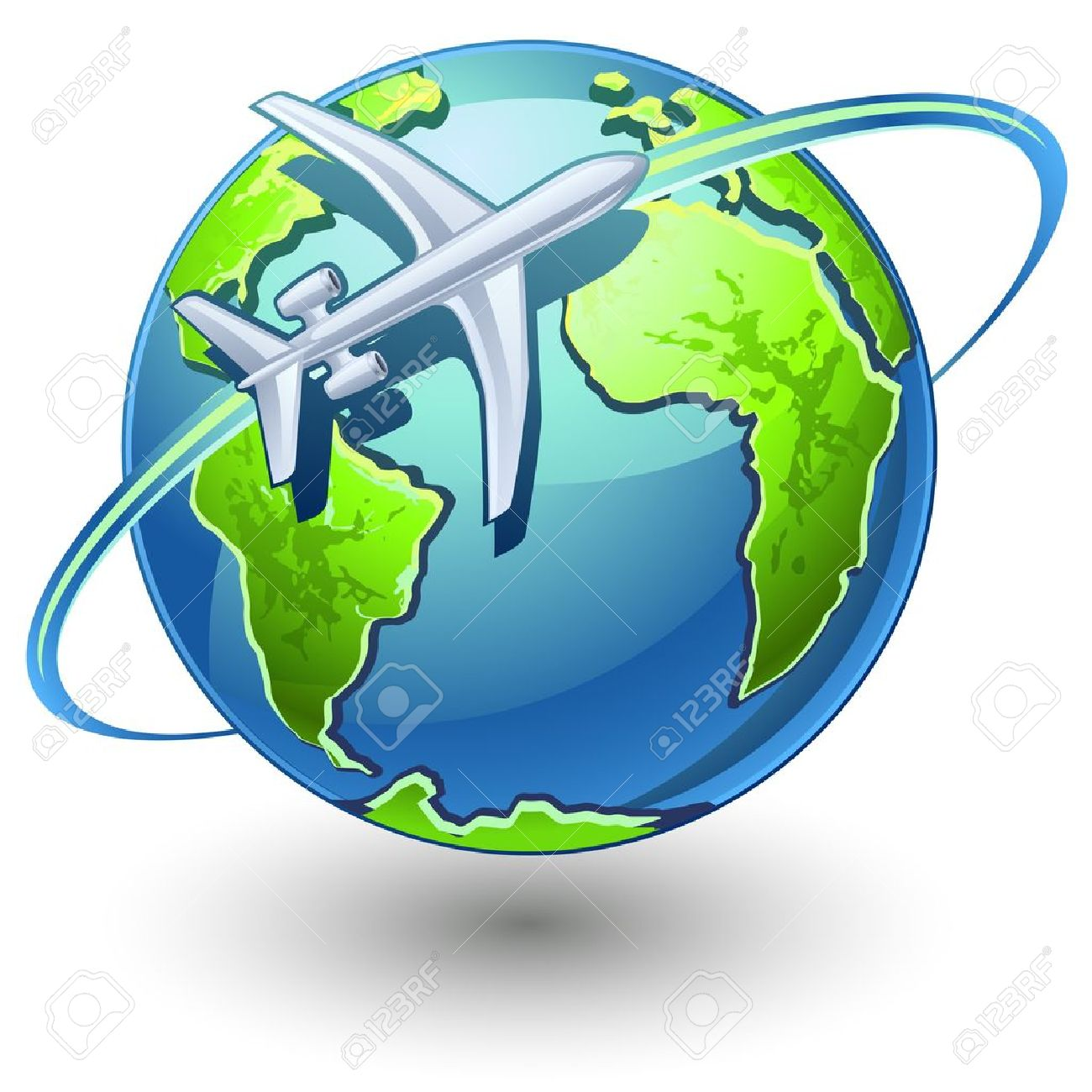 Airplane And Earth Clipart.