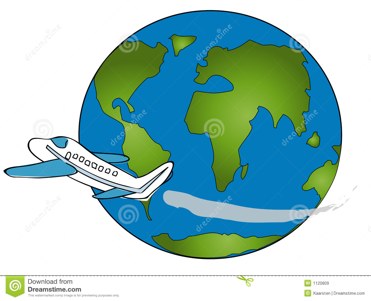 World And Plane Clipart.