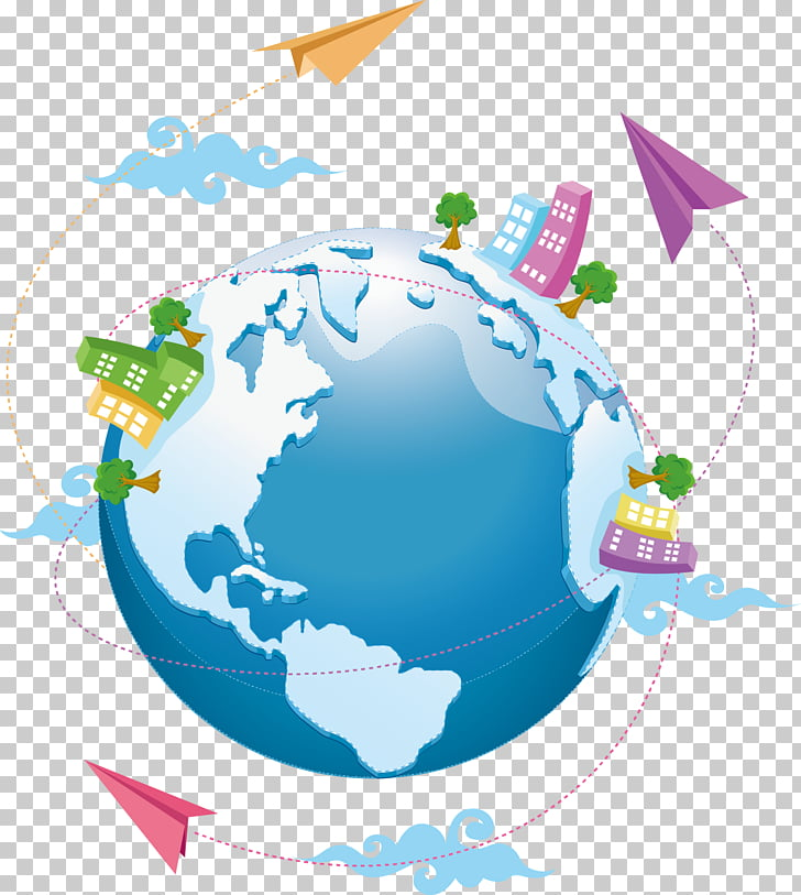 Globe , paper airplane around the world PNG clipart.
