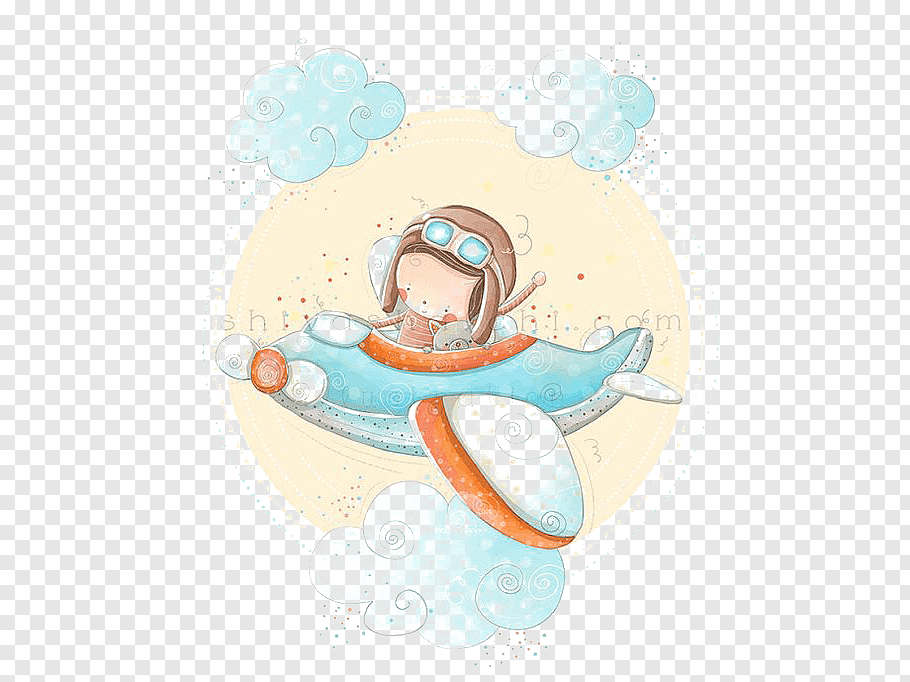 Boy in plane illustration, Airplane Paper Baby shower.