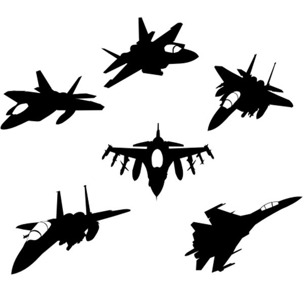 Free download Jet fighter silhouettes vectors.