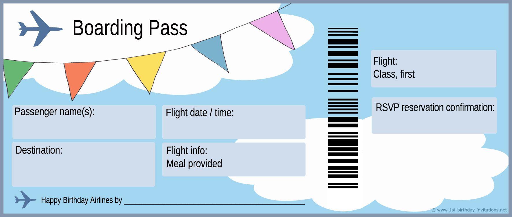 Boarding Pass Birthday Invitation.