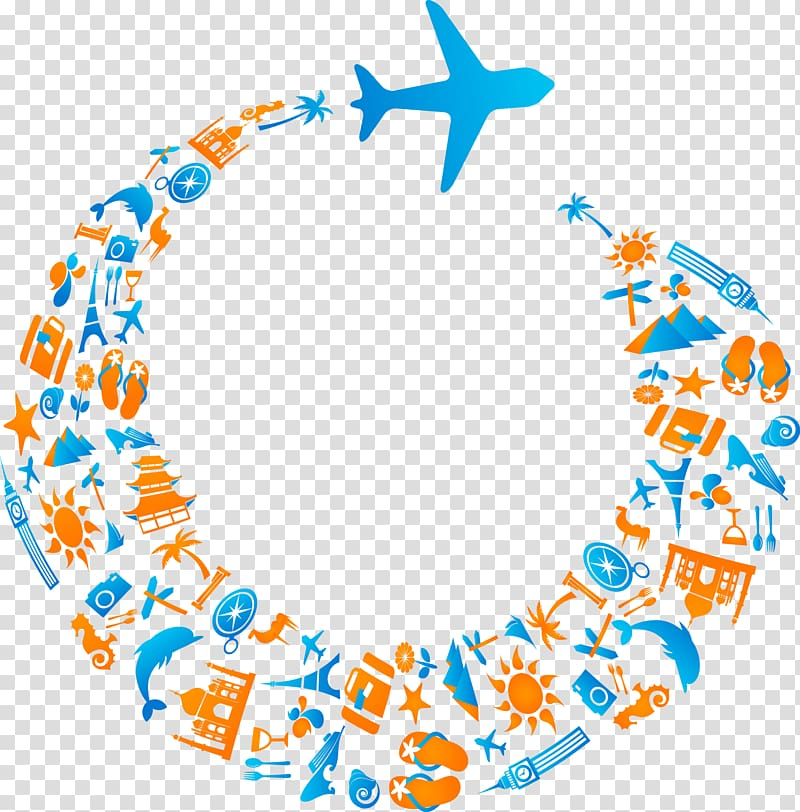 Round blue and orange plane border template, Airplane Air.