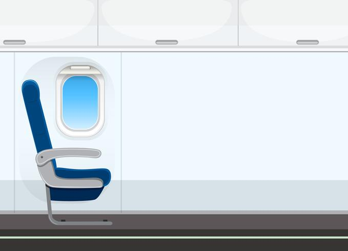 Empty aircraft cabin background.
