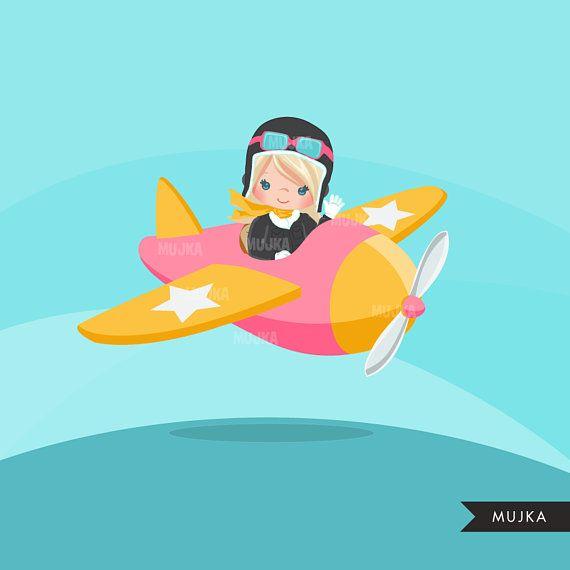 Pilot clipart, pilot girl characters, plane, black, card.