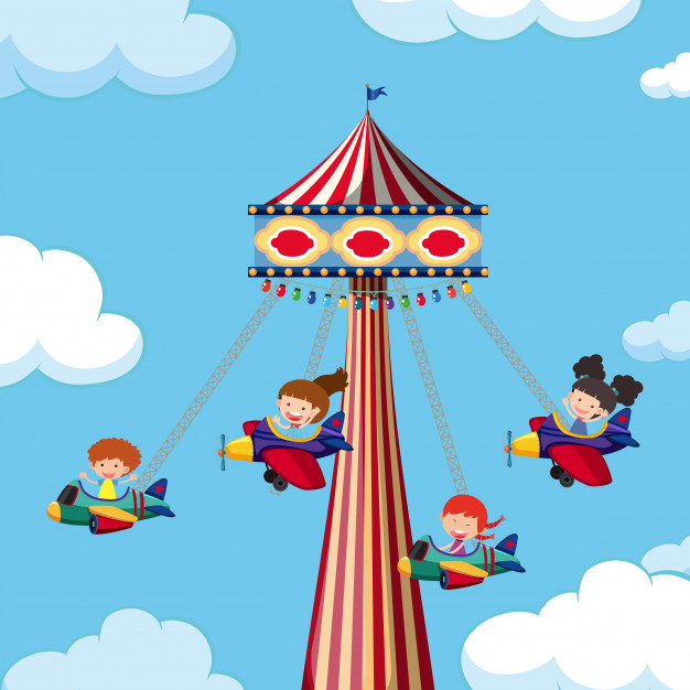 Theme park giant airplane swing Vector.