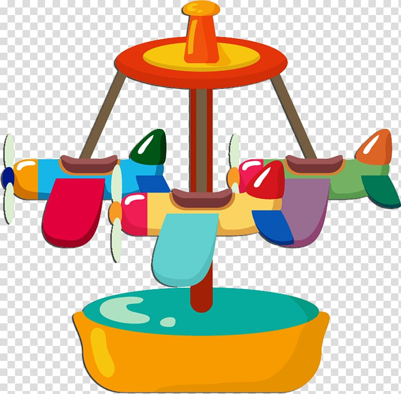 Airplane Carousel Fair, Carousel transparent background PNG.