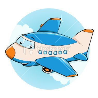 Vector cartoon cheerful airplane character flying in the.