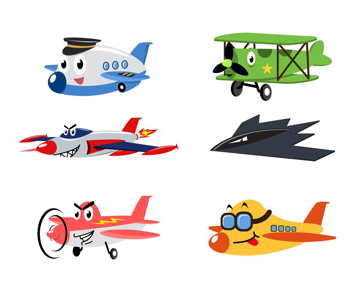 Free Cartoon Airplane Vector.