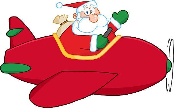 Santa Claus flying a plane and waving.