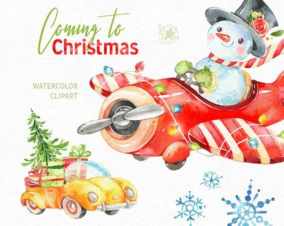 Coming to Christmas. Watercolor holiday clipart, snowman.