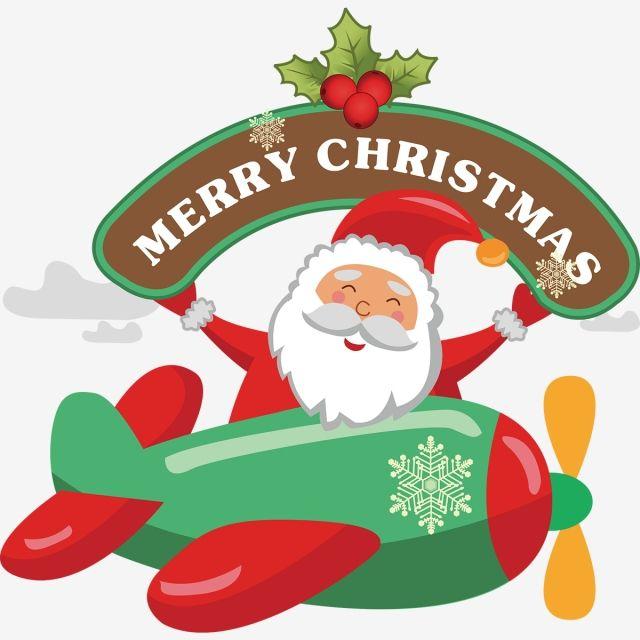 Cartoon Santa Claus Sitting On Airplane Illustration, Santa.