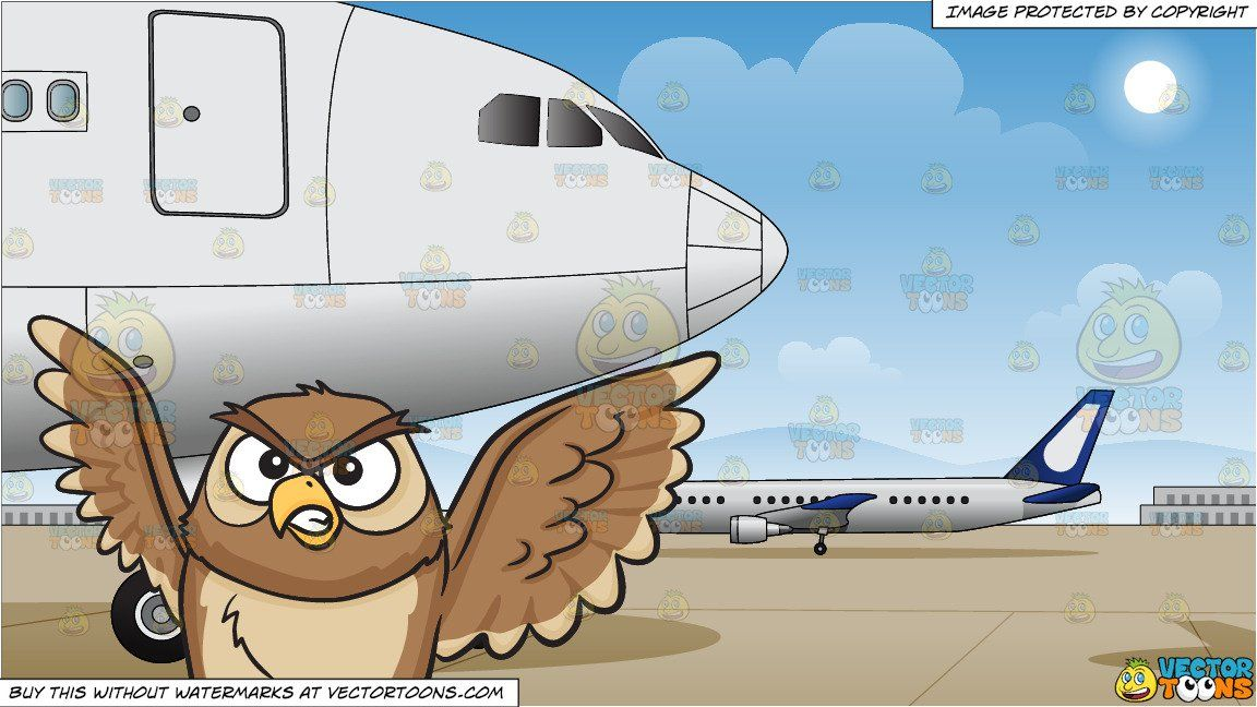 clipart #cartoon An angry night owl and Airport Runway.