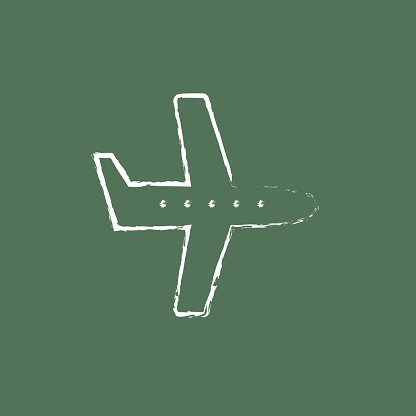 Flying airplane icon drawn in chalk Clipart Image.