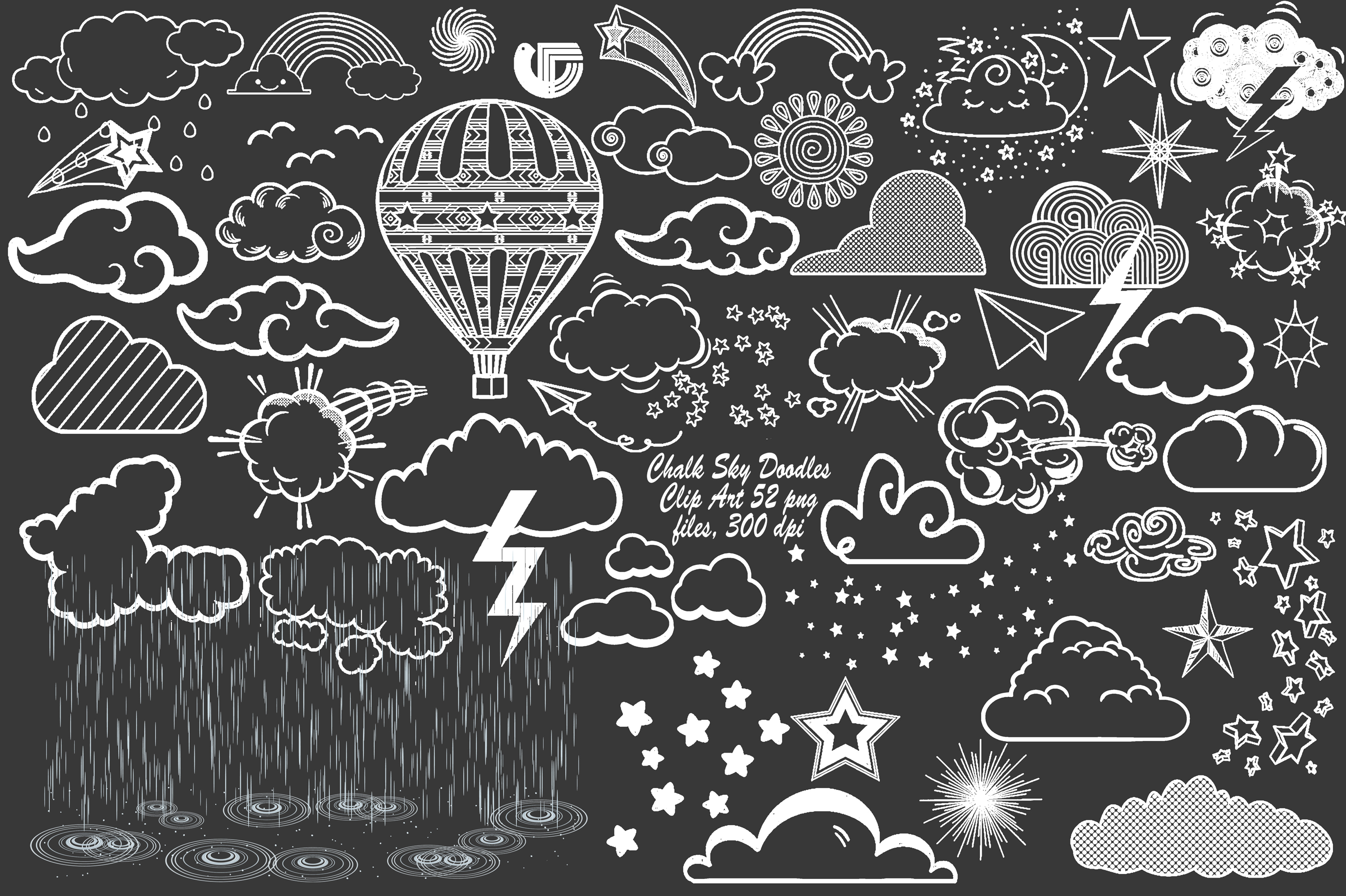 Chalk Sky Doodles and Rain Overlay Clip Art.