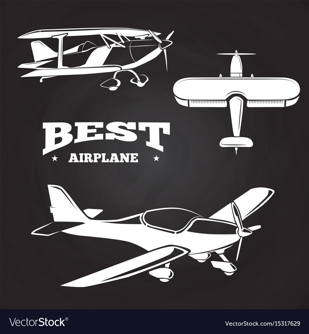 White airplanes collection on chalkboard design.