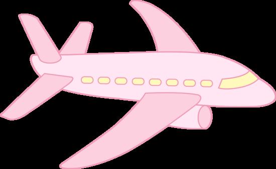 Cute Pink Airplane Clipart.