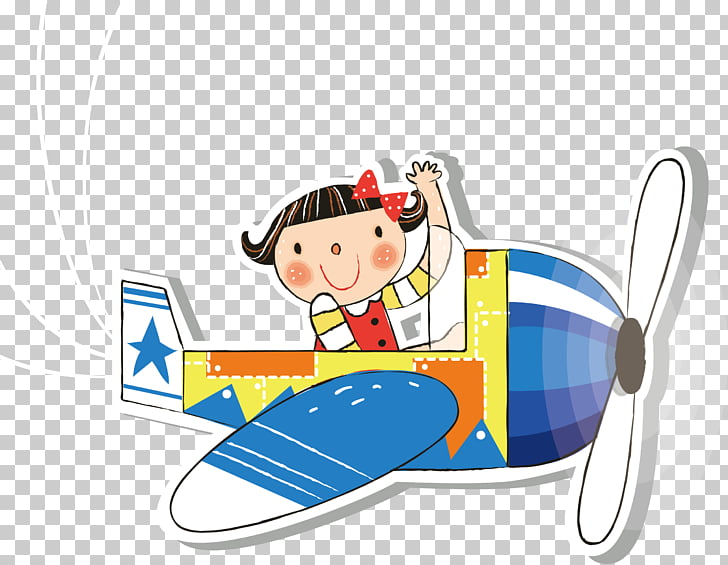 Airplane Flight Illustration, Fly little girl PNG clipart.