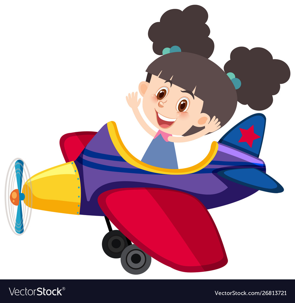 Single character girl riding airplane on white.