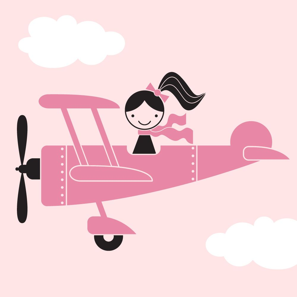 Airplane Girl Wall Decal in 2019.