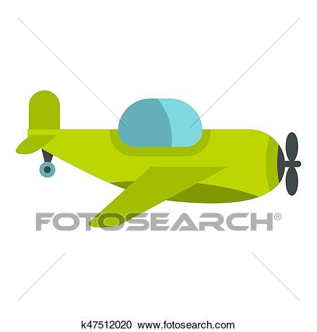 Green toy plane icon isolated Clipart.