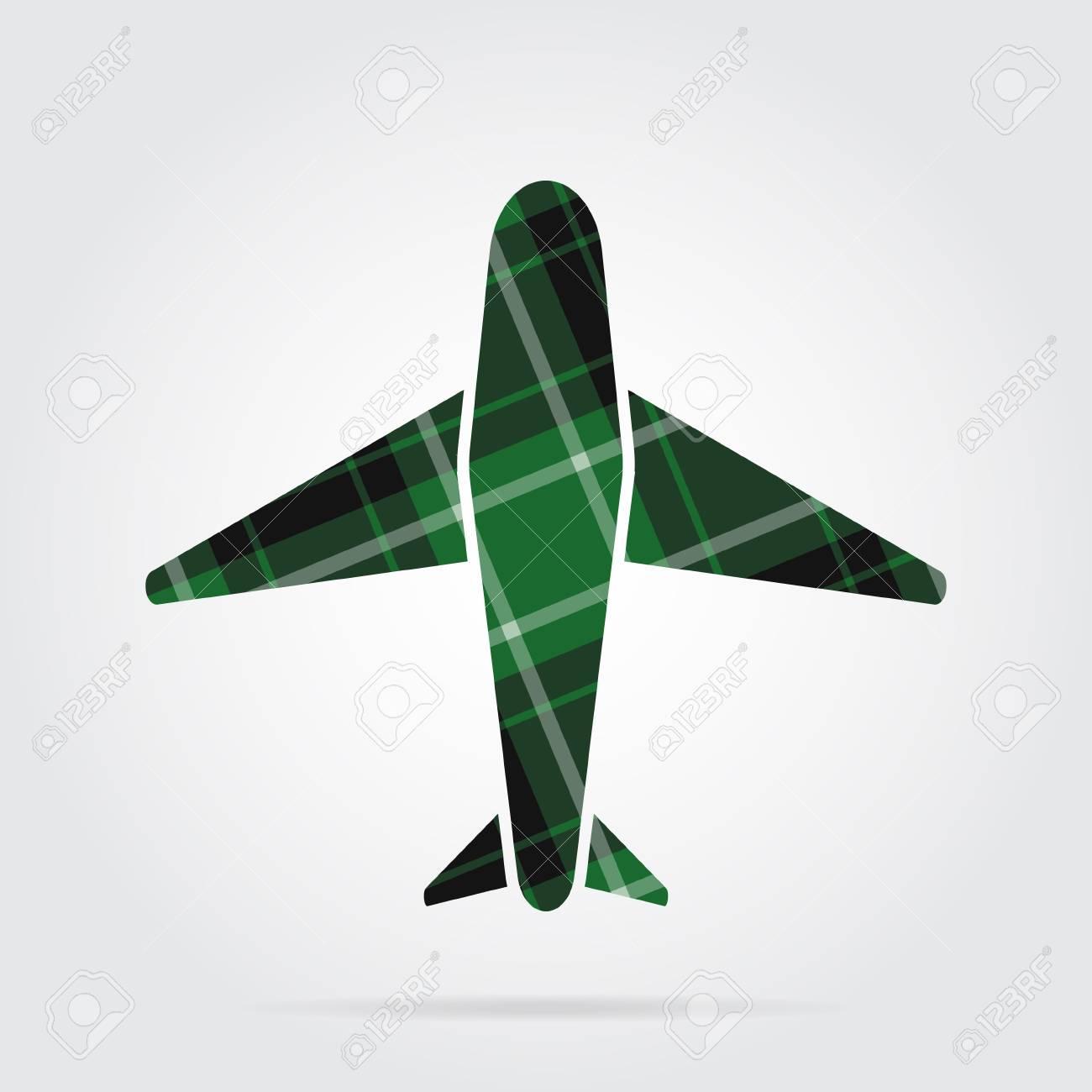 green, black isolated tartan icon with white stripes.