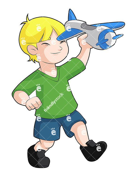 A Happy Young Blond Boy Playing With A Toy Airplane in 2019.