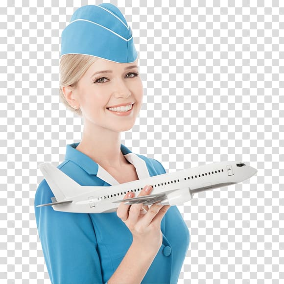 Woman holding passenger plane, Airplane Flight attendant Air.