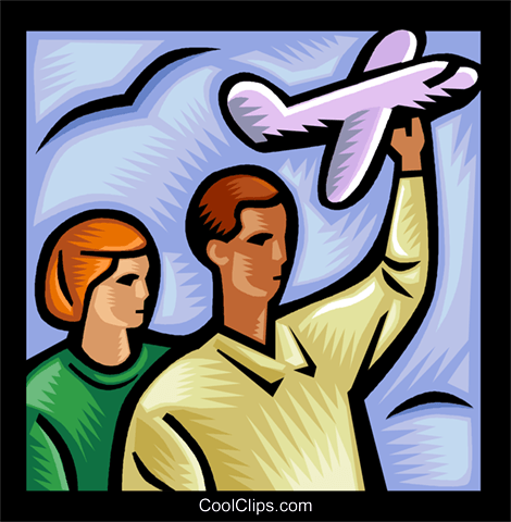 people holding onto model airplane Royalty Free Vector Clip.