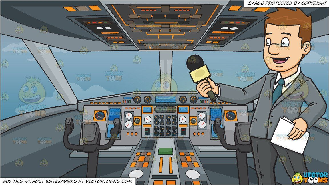 clipart #cartoon A Broadcaster Holding A Mic To Interview.