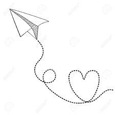 paper airplane clipart and love.