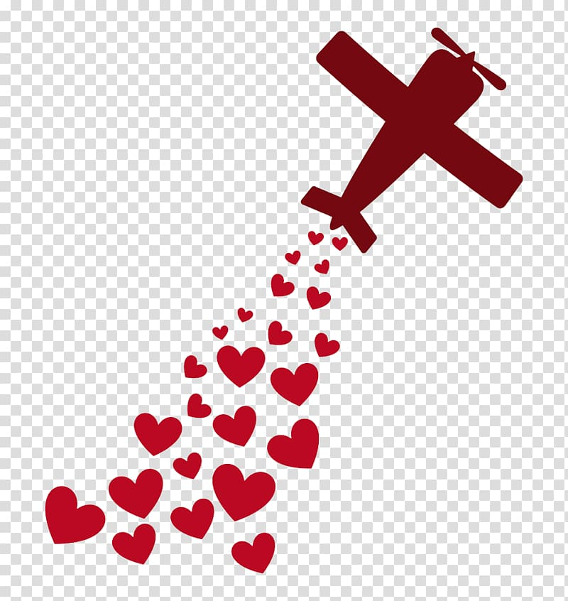 Red plane and red hearts print , Airplane Love Heart Romance.