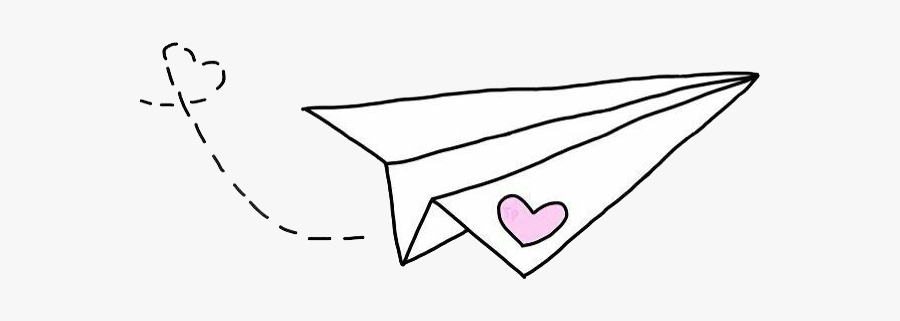 Heart We It Paper Airplane White Clipart.