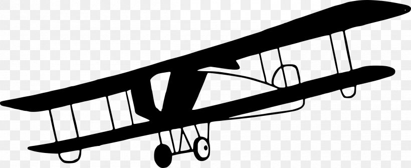 Airplane Aircraft Biplane Clip Art, PNG, 2400x982px.