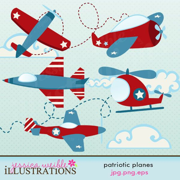 Patriotic Planes Cute Digital Clipart.