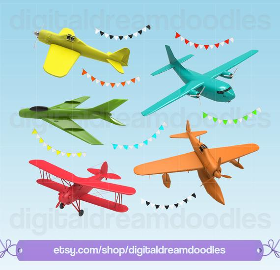 Plane Clipart, Airplane Clipart, Classic Airplane Image, Aeroplane Graphic,  Biplane Scrapbook, Chopper Heli PNG, Helicopter Digital Download.