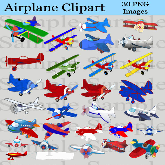 Airplane Clipart INSTANT DOWNLOAD for Digital Scrapbooking.